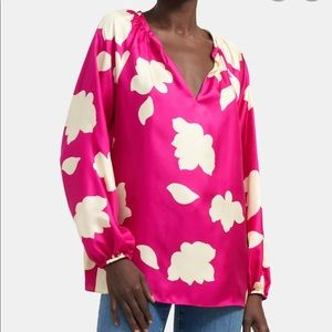 Theory open v neck silk floral blouse